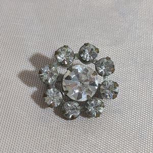 Tiny Vintage Mid Century Silver Rhinestone Brooch